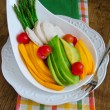 Breakfast With Papaya, Chicken, Avocado, Asparagus And Cherry Tomatoes — Stock Photo