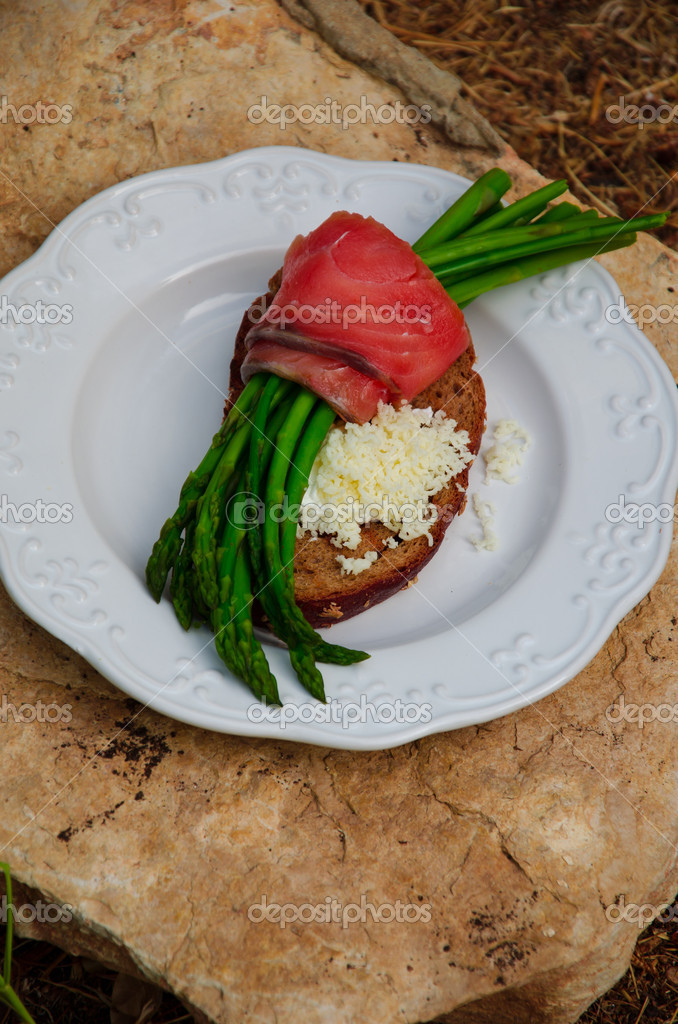 Asparagus, Rye Bread toasted, goat cream-cheese and grated Montenegro goat cheese on a plate and white stone — Stock Photo #13856317