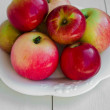 Apples On A White Plate — Lizenzfreies Foto