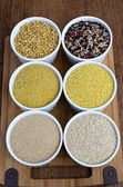 Kamut, Classic Mixed Rice, Fine Bulgur, Millet, Amaranth And Quinoa — Стоковое фото