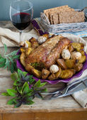 Pesto Stuffed Pork Loin And Roasted Mustard Potato — Stock Photo