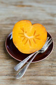 Heart-Shaped Persimmon, Nice Dessert For St.Valentine — Stock Photo