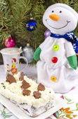 Cheesecake Lviv And Snowman — Stock Photo