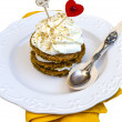 Saint Valentine's Carrot Cake Isolated On White — Stock Photo