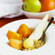Healthy Breakfast: Kamut, Flax-Seeds, Persimmon And Pear — Stock Photo