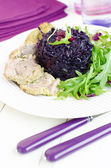 Pork Rump Cutlet With Braised Red Cabbage And Arugula Salad — Стоковое фото