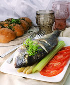 Dorada With Asparagus, Tomato, Celery Stalk, Cress And Garlic Buns — Zdjęcie stockowe