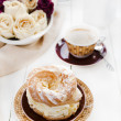 A Paris Brest, a French Dessert, and coffee — Stock Photo