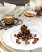 Chocolate Truffle Glazed Coffee Beans, and various chocolate bars — Stock Photo