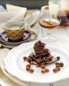 Chocolate Truffle Glazed Coffee Beans, and various chocolate bars — Stock Photo