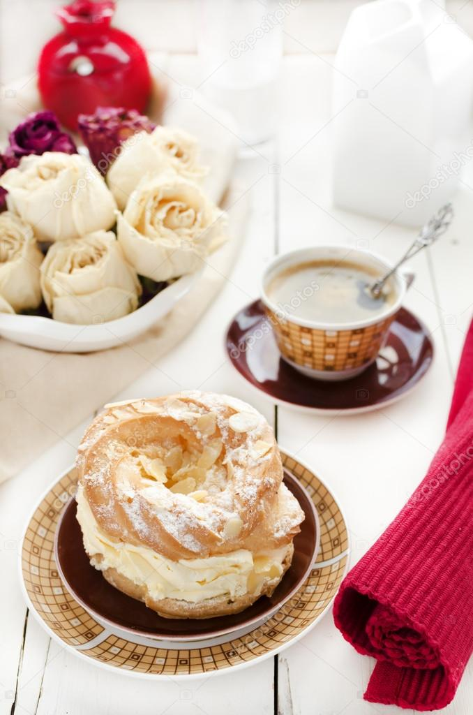 a paris brest a french dessert and coffee stock photo curlycourland 25310879. Black Bedroom Furniture Sets. Home Design Ideas