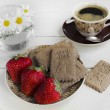 Cofee, cookies and strawberries - Stock Photo