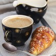 Stock Photo: Coffee and croissant