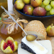 Stock Photo: Israeli and Spanish Goat cheeses, fig and honey