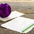 Stock Photo: Writing letter to SantClaus on vintage wooden table