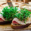 Stock Photo: Bread with smoked turkey ham, broccoli sprouts and mustard