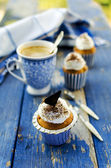 Cupcakes with marzipan and chocolate in marina style — Stock Photo