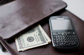 Denominations of money in the leather pouch and phone — Stock Photo