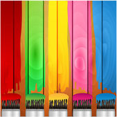 Coloured stripes of paint and brush on a background wooden boards — Stock Vector