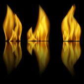 Incendie et reflet de feu sur fond noir — Vecteur