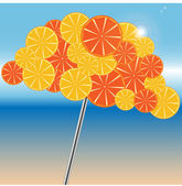 Beach umbrella is decorated by oranges and grapefruits — Stock Vector