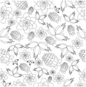 Pattern from berries and flowers on a white background — Stock Vector