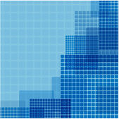 Blue squares of different size on a green background — Stock Vector