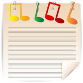 Music paper is decorated by varicoloured notes — Stock Vector