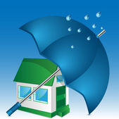 Illustration of house and umbrella on a blue background — Stock Vector