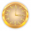 Clock of gold color with numbers and pointers on a white background — Stock Vector