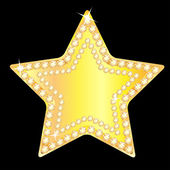 Gold star with sparkling stones on a black background — Stock Vector