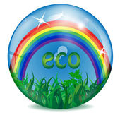 Sphere with a rainbow grass sky and letters inwardly — Stock Vector