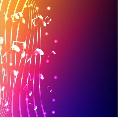 Luminous notes on a varicoloured background