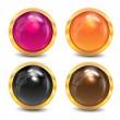 Stock Vector: Coloured buttons are in a gold frame
