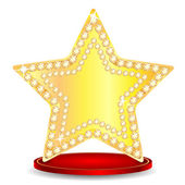 Gold star on a podium on a white background — Vettoriale Stock