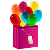 Balloons are in a gift package — Stock Vector