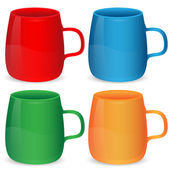 Set of cups of different color on a white background — Stock Vector