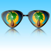 Sunglasses with reflection of trees — Stock Vector