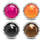 Set of the varicoloured buttons is in a silvery frame — Stock Vector