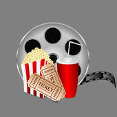Film with popcorn and a drink on a gray background — Stock Vector