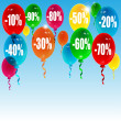 Balloons and sales numbers on a blue background — Imagens vectoriais em stock