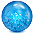 Glass ball of blue color with little balls inwardly — Stock Vector