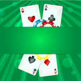 Playing cards and poker chips on a green background — Stock Vector