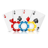 Playing cards and poker chips on a white background — Stock Vector
