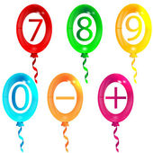 Balloons with numbers and signs — Stock Vector
