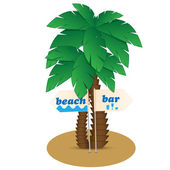 Palms and pointers to sand — Stock Vector