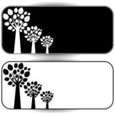White and black trees on a white and black background — Stock Vector