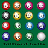 Billiard balls on a green background — Stock Vector
