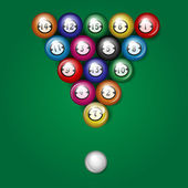 Balls for billiards on a green background — Stock Vector