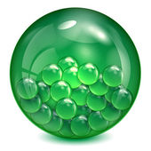 Glass ball of green color with little balls inwardly — Stock Vector
